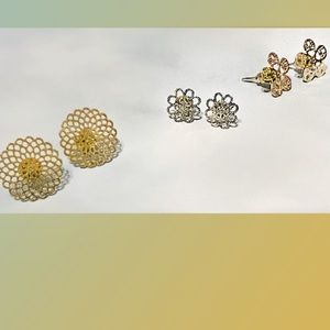 Jewelry - Lace Cut Floral Earring Set Of 3 / (OS) NWT!!